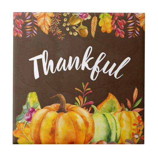 Harvest Pumpkins and Autumn Leaves Border Thankful Ceramic Tile
