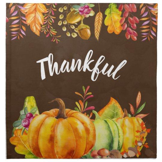 Harvest Pumpkins and Autumn Leaves Border Thankful Cloth Napkin