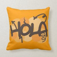 Hello in Spanish Throw Pillows