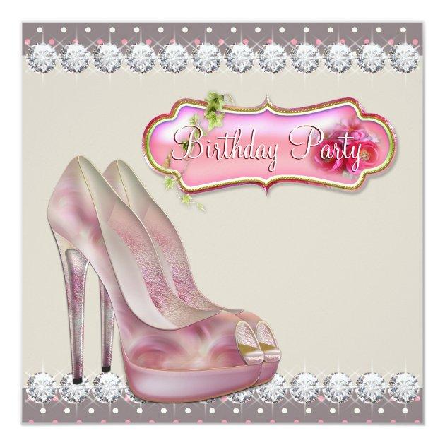 High Heel Shoe Pink Brown Birthday Party Invitation