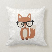 Hipster Baby Fox w/Glasses Throw Pillow | Zazzle