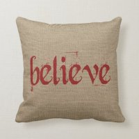 Holiday Christmas Believe Burlap Decor Throw Pillow ...