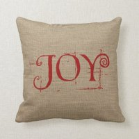 Holiday Christmas JOY Burlap Decor Throw Pillow | Zazzle