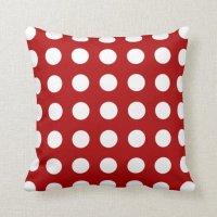 Holly Red Polka Dot Pattern Pillow | Zazzle