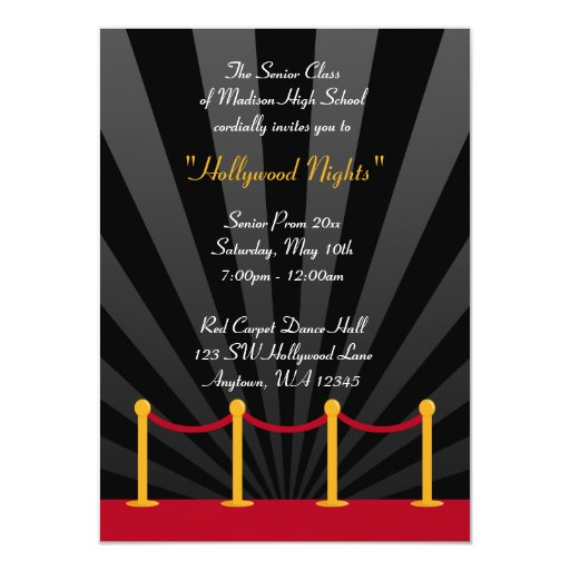 Personalized Hollywood theme prom Invitations CustomInvitations4U