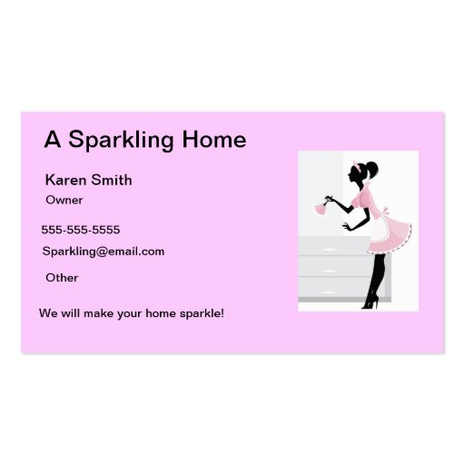 House Cleaning Business Card Pink Maid Lady