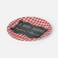 I DO BBQ Rustic Engagement Party Paper Plate | Zazzle