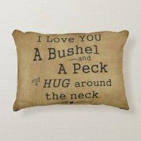 I love you a bushel and a peck pillow accent pillow | Zazzle