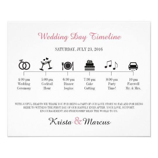 Icon Wedding Timeline Program Flyer Zazzle - wedding timeline