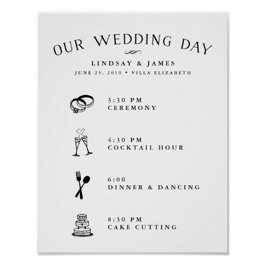 Illustrated Wedding Day Schedule Poster Zazzle