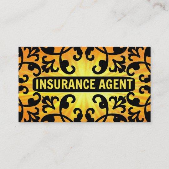 Insurance Agent Sunshine Damask Business Card Zazzle