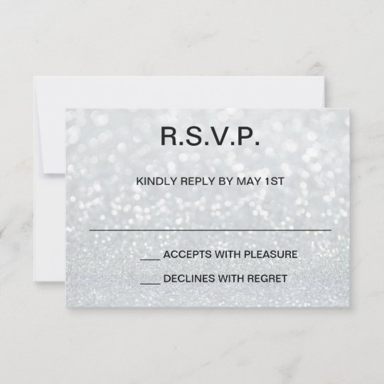 Iridescent Glitter Print Sweet 16 RSVP Card Zazzle