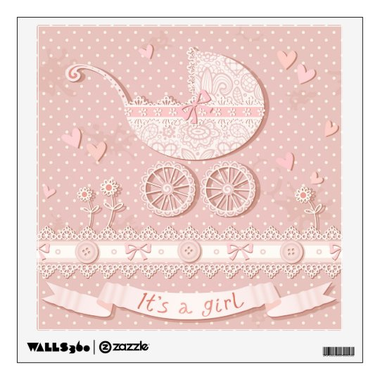 Its a girl, new born baby girl announcement,birth wall sticker