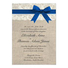 Ivory Lace Royal Blue Burlap Wedding Invitation