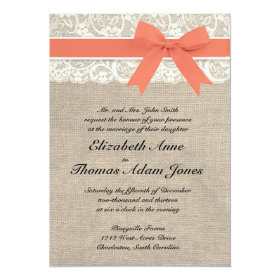 Ivory Lace Rustic Burlap Wedding Invitation- Coral 5x7 Paper Invitation Card