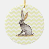 Jackrabbit watercolor painting on chevron pattern Double-Sided ceramic round christmas ornament