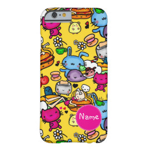 Kawaii Doodles Food, creatures Personalized Barely There iPhone 6 Case
