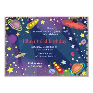 Kids birthday invitation 047: Outer Space II