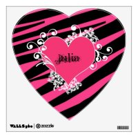 KRW Pink and Black Zebra Diva Heart Wall Decal | Zazzle