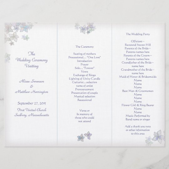 Lavender Art Tri-Fold Wedding Program Template Zazzle