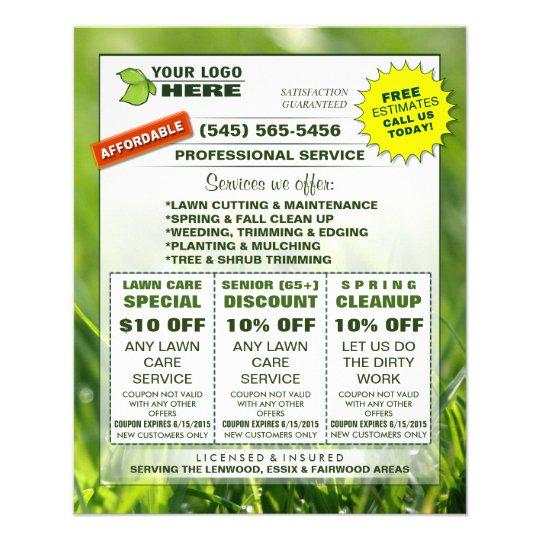 Lawn Care 45 x 56 Flyer ADD LOGO Custom Coupons Zazzle