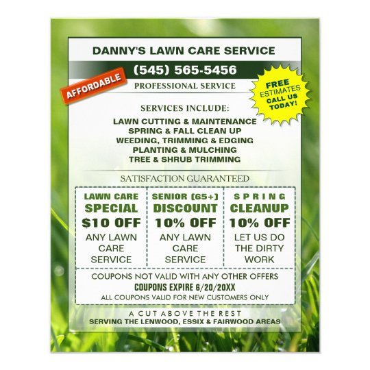 Lawn Care 45 x 56 Flyer - Business Coupons Zazzle