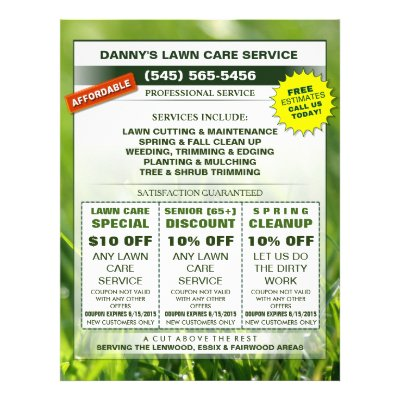 Lawn Care 45 x 56 Flyer - Business Coupons Zazzle - coupon flyer