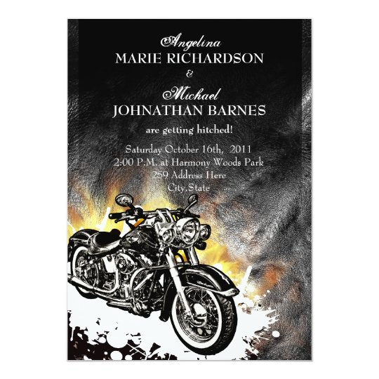 String Lights Make Your Own Leather & Flames Offbeat Biker Wedding Invitation | Zazzle.com