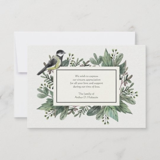 Leaves and Bird Bereavement Thank You Card Zazzle