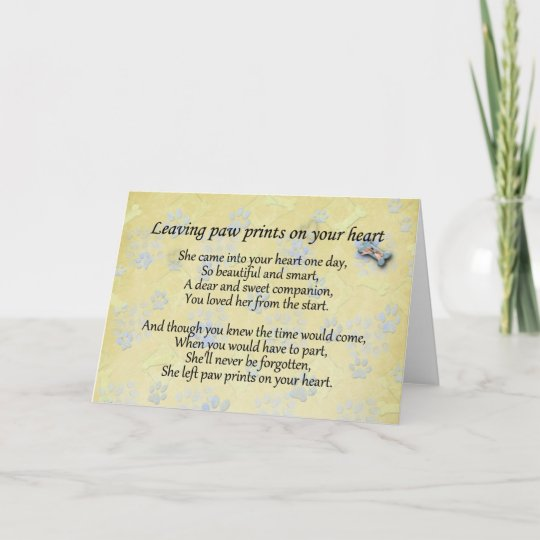 Left paw prints on heart pet loss sympathy card Zazzle
