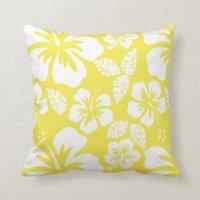 Lemon Yellow Hawaiian Tropical Hibiscus Throw Pillow   Zazzle