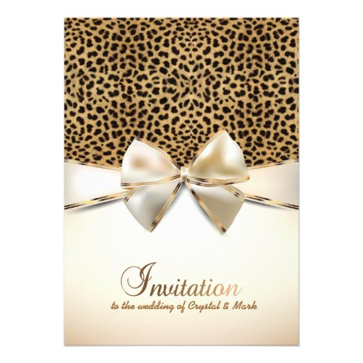 Leopard Skin Print Wedding Event Invitation 5quot X 7