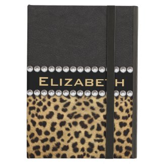 Leopard Spot Rhinestone Diamonds Monogram iPad Air Covers