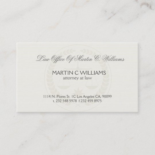 Light Cream Scale Of Justice Watermark Business Card Zazzle