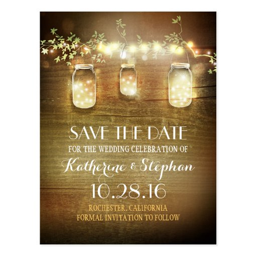 Glam Fall Background Wallpaper Lights Amp Mason Jars Rustic Save The Date Postcard Zazzle