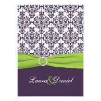 Lime and Purple Damask Wedding Invitation