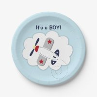 Little Aviator Airplane Baby Shower Paper Plate 7 Inch ...
