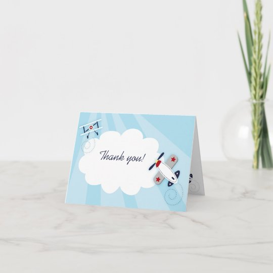 Little Aviator Boy Thank you Note Card size Zazzle