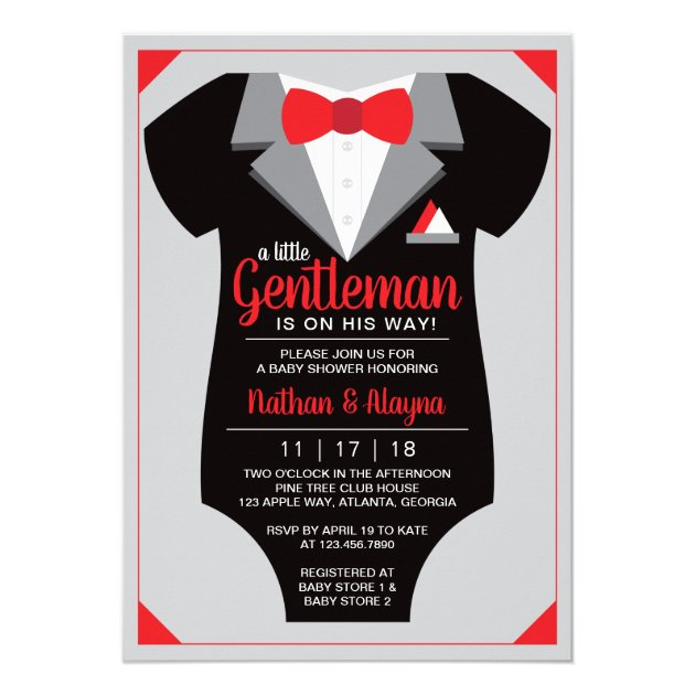 Little Gentleman Baby Shower Invitation Tuxedo Invitation