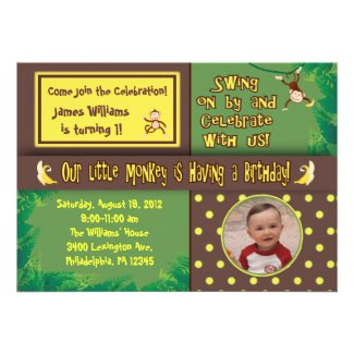Little Monkey Birthday Party Invitation