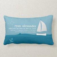 Little Sailor Birth Announcement Pillow   Zazzle
