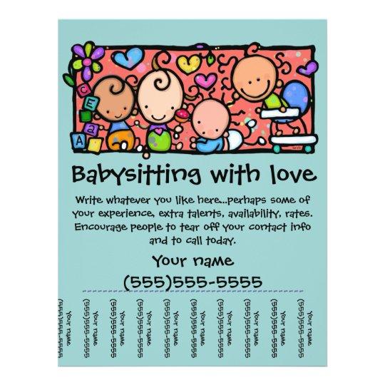 LittleGirlie Child care custom tear-sheet flyer Zazzle