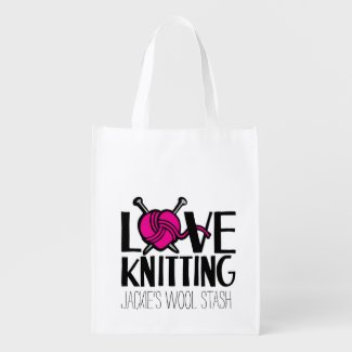 Love knitting wool stash bag market tote