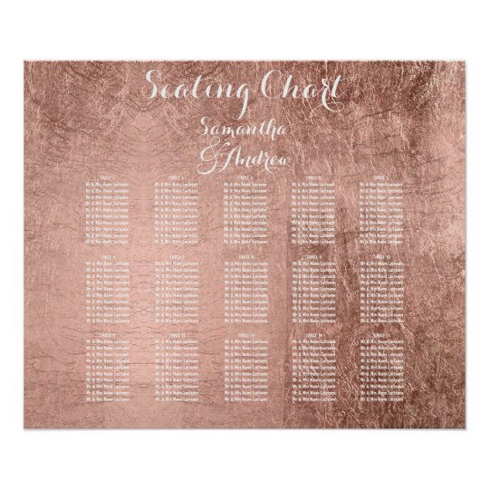 Luxury faux rose gold leaf table seating chart Zazzle