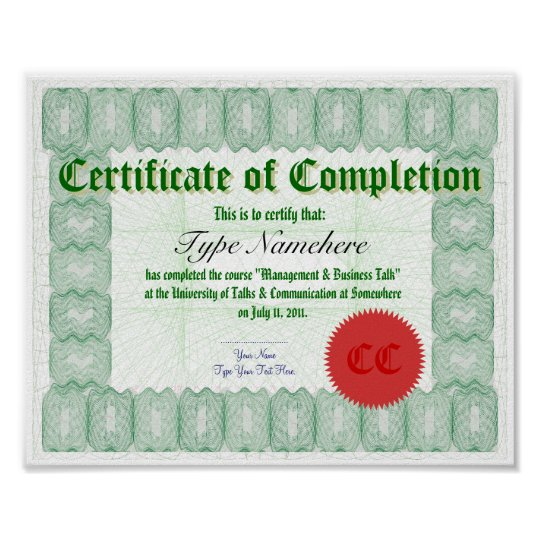 Make a Certificate of Completion Print Zazzle