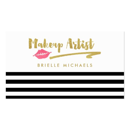 Makeup Artist Black White Stripes With Pink Lips Business Card