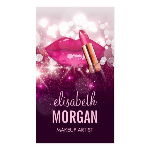 Makeup Artist Red Lips Pink Glitter Sparkling Business Card
