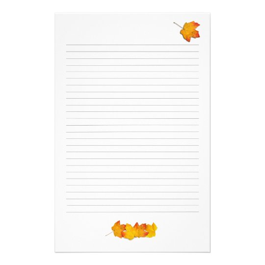 Maple Leaves Fall Theme, Lined Writing Paper Zazzle - lined writing paper