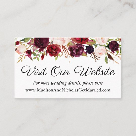 Marsala and Pink Wedding Website Insert Cards Zazzle