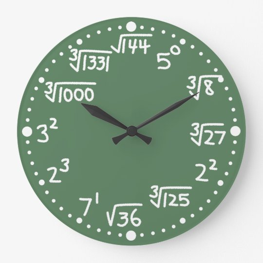 Maths Exponents Square and Cube Roots Wall Clock Zazzle